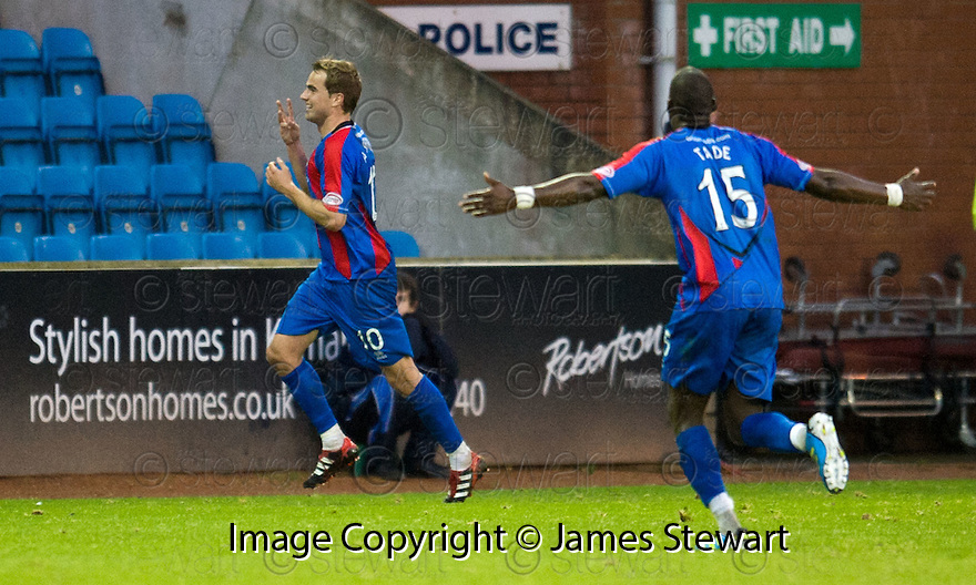 CALEY'S ANDREW SHINNIE CELEBRATES AFTER HE SCORES INVERNESS' FIFTH GOAL