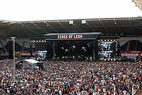 Pictured: Kings of Leon on stage. Wednesday 02 July 2014<br /> Re: Kings of Leon at the Liberty Stadium, Swansea, south Wales.
