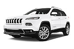 Stock pictures of low aggressive front three quarter view of a 2015 Jeep Cherokee Limited 5 Door SUV