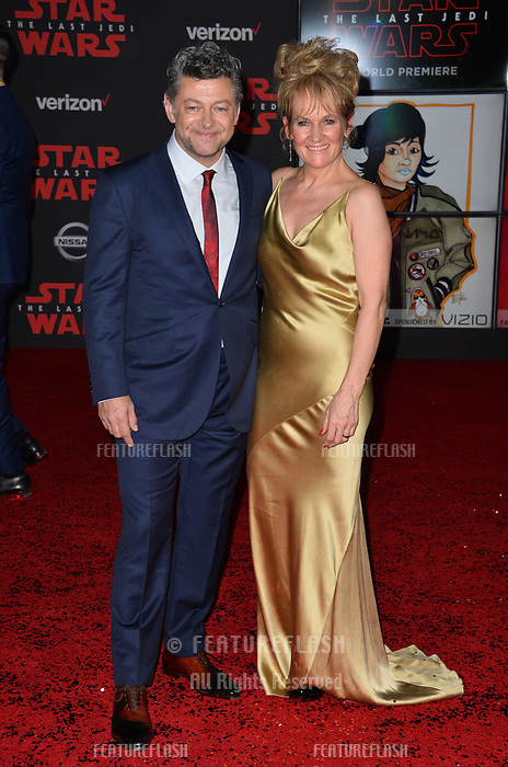 Andy Serkis &amp; Lorraine Ashbourne  at the world premiere for &quot;Star Wars: The Last Jedi&quot; at the Shrine Auditorium. Los Angeles, USA 09 December  2017<br /> Picture: Paul Smith/Featureflash/SilverHub 0208 004 5359 sales@silverhubmedia.com