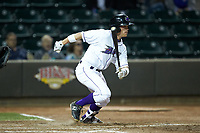 Alex Call (8) of the Winston-Salem Dash starts down the first base line during the game against the Salem Red Sox at BB&T Ballpark on April 21, 2018 in Winston-Salem, North Carolina.  The Dash walked-off the Red Sox 4-3.  (Brian Westerholt/Four Seam Images)