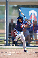 Minnesota Twins Mark Contreras (1) during a Minor League Spring Training game against the Tampa Bay Rays on March 15, 2018 at CenturyLink Sports Complex in Fort Myers, Florida.  (Mike Janes/Four Seam Images)