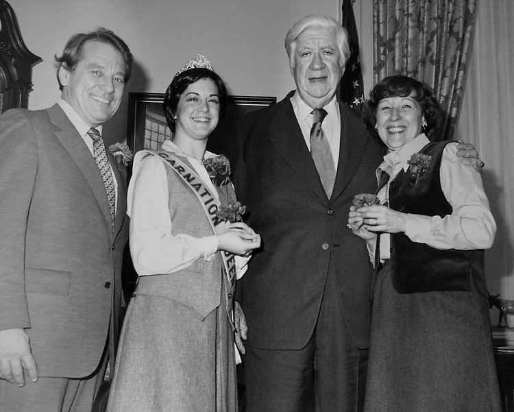 """From left Rep. Ralph Straus Regula, D- Ohio, House of Representatives Member, Carnation Queen Patty Frasher Harper, Speaker of the House, Rep. Thomas Phillip """"Tip"""" O'Neill, House Majority Leader, and Mrs. Mary Regula, Wife of Ralph Straus Regula. (Photo by CQ Roll Call)"""