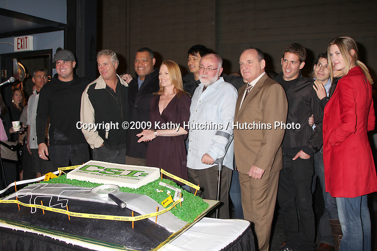 the Cast of CSI  including Lawrence Fishburne, William Petersen, and Marg Helgenberger  at the 200th Episode Celebration of CSI (LasVegas) at the CSI set on Universal Backlot in Los Angeles, CA on .February 10, 2009.©2009 Kathy Hutchins / Hutchins Photo..                .