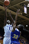 30 October 2014: Duke's Elizabeth Williams (1) and Limestone's Amber Wright (32). The Duke University Blue Devils hosted the Limestone College Saints at Cameron Indoor Stadium in Durham, North Carolina in an NCAA Women's Basketball exhibition game. Duke won the game 100-33.