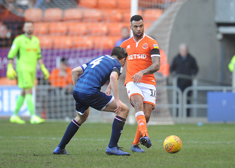 Blackpool's Curtis Tilt under pressure from Walsall's George Dobson<br /> <br /> Photographer Kevin Barnes/CameraSport<br /> <br /> The EFL Sky Bet League One - Blackpool v Walsall - Saturday 9th February 2019 - Bloomfield Road - Blackpool<br /> <br /> World Copyright © 2019 CameraSport. All rights reserved. 43 Linden Ave. Countesthorpe. Leicester. England. LE8 5PG - Tel: +44 (0) 116 277 4147 - admin@camerasport.com - www.camerasport.com