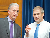 United States Representative Trey Gowdy (Republican of South Carolina), Chairman, US House Select Committee on the Events Surrounding the 2012 Terrorist Attack in Benghazi, Libya, left, and US Representative Jim Jordan (Republican of Ohio), right, a member of that committee, have a discussion before FBI Director James Comey delivers testimony before the US House Committee on Oversight and Government Reform following his announcement on Tuesday that he would recommend not to prosecute former US Secretary of State Hillary Clinton for maintaining a private server on Capitol Hill in Washington, DC on Thursday, July 7, 2016.<br /> Credit: Ron Sachs / CNP<br /> (RESTRICTION: NO New York or New Jersey Newspapers or newspapers within a 75 mile radius of New York City)
