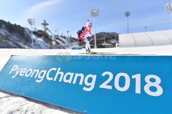 "Cross-country skiers in action behind a band with the text ""Pyeongchang 2018"" in the Alpensia Cross-country Skiing Centre in Pyeongchang, South Korea, 07 February 2018. The Pyeongchang 2018 Winter Olympics take place between 09 and 25 February. Photo: Hendrik Schmidt/dpa-Zentralbild/dpa /MediaPunch ***FOR USA ONLY***"