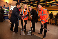 Ready, steady, go! Lincoln Station is refubishing their ticket office and pictured at the start of works are, from left: Lisa Breeze, Acting Station Manager, Robert Kirkland, Director of Construction for Bowmer and Kirkland, Neil Micklethwaite, Customer Service & Commercial Director for East Midlands Trains and Clive Hannaford, Contracts Manager for Bowmer & Kirkland.