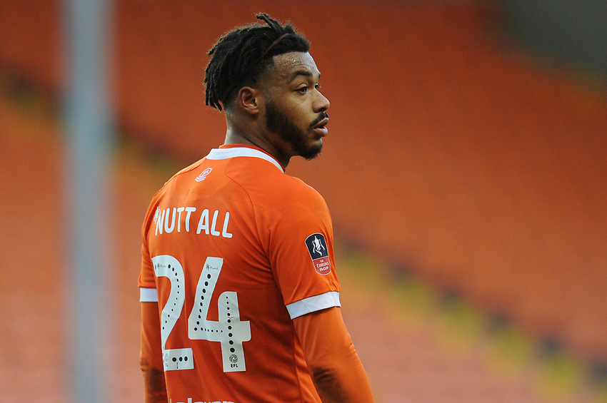 Blackpool's Joe Nuttall<br /> <br /> Photographer Kevin Barnes/CameraSport<br /> <br /> Emirates FA Cup Second Round - Blackpool v Maidstone United - Sunday 1st December 2019 - Bloomfield Road - Blackpool<br />  <br /> World Copyright © 2019 CameraSport. All rights reserved. 43 Linden Ave. Countesthorpe. Leicester. England. LE8 5PG - Tel: +44 (0) 116 277 4147 - admin@camerasport.com - www.camerasport.com