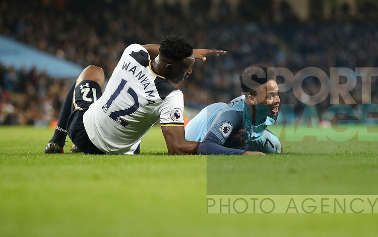 Victor Wanyama of Tottenham Hotspur and Raheem Sterling of Manchester City during the Premier League match at Etihad Stadium, Manchester. Picture date: January 21st, 2017.Photo credit should read: Lynne Cameron/Sportimage