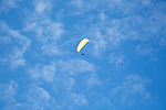 Paragliding above Rhossili, Gower peninsula, near Swansea, South Wales, UK