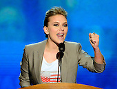 Scarlett Johansson makes remarks at the 2012 Democratic National Convention in Charlotte, North Carolina on Thursday, September 6, 2012.  .Credit: Ron Sachs / CNP.(RESTRICTION: NO New York or New Jersey Newspapers or newspapers within a 75 mile radius of New York City)