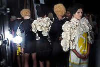 JOHANNESBURG, SOUTH AFRICA APRIL 8: Models walking for the designer Black Coffee wait backstage before a fashion show at South Africa Fashion Week on April 8, 2011 held in Johannesburg, South Africa. Designers showed their spring/summer collections. (Photo by: Per-Anders Pettersson)