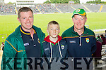 Seamus Landers, Eoghan Landers and Michael Landers, all from Ballyferriter, attending the Kerry v Clare football championship semi-final at Fitzgerald Stadium, Killarney on Sunday.