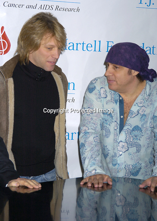 Jon Bon Jovi and Steven Van Zandt ..at a Luncheon on February 8, 2005 at the Sony Club to announce the kick-off of the upcoming 30th Anniversary gala celebration of the TJ Martell Foundation in May. ..Photo by Robin Platzer, Twin Images