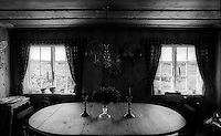 Dining room, Vasskalven Island, Norway.<br /> <br /> Canon EOS 1, 24mm lens, Kodak TMAX 100 film