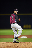 Wisconsin Timber Rattlers pitcher Kodi Medeiros (16) delivers a pitch during the second game of a doubleheader against the Quad Cities River Bandits on August 19, 2015 at Modern Woodmen Park in Davenport, Iowa.  Quad Cities defeated Wisconsin 8-1.  (Mike Janes/Four Seam Images)