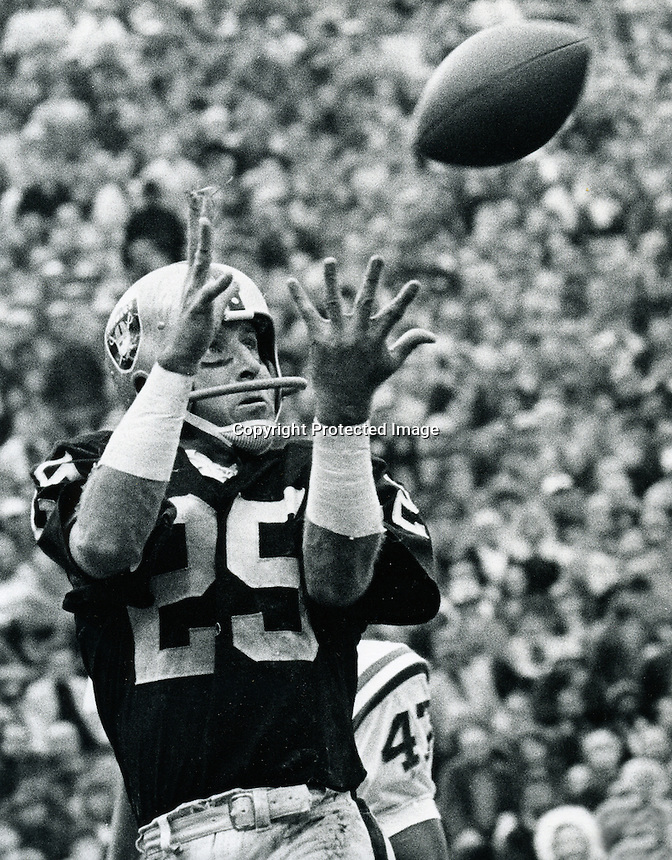 Raider flanker Fred Biletnikoff grabs a TD pass 1972.copyright Ron Riesterer