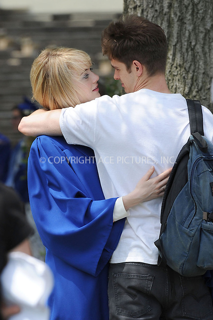 WWW.ACEPIXS.COM . . . . . <br /> June 2, 2013...New York City....Emma Stone and Andrew Garfield on the film set of 'The Amazing Spider Man 2' on the Lower East Side of Manhattan on June 2, 2013 in New York City ....Please byline: Kristin Callahan - ACEPIXS.COM.. . . . . . ..Ace Pictures, Inc: ..tel: (212) 243 8787 or (646) 769 0430..e-mail: info@acepixs.com..web: http://www.acepixs.com