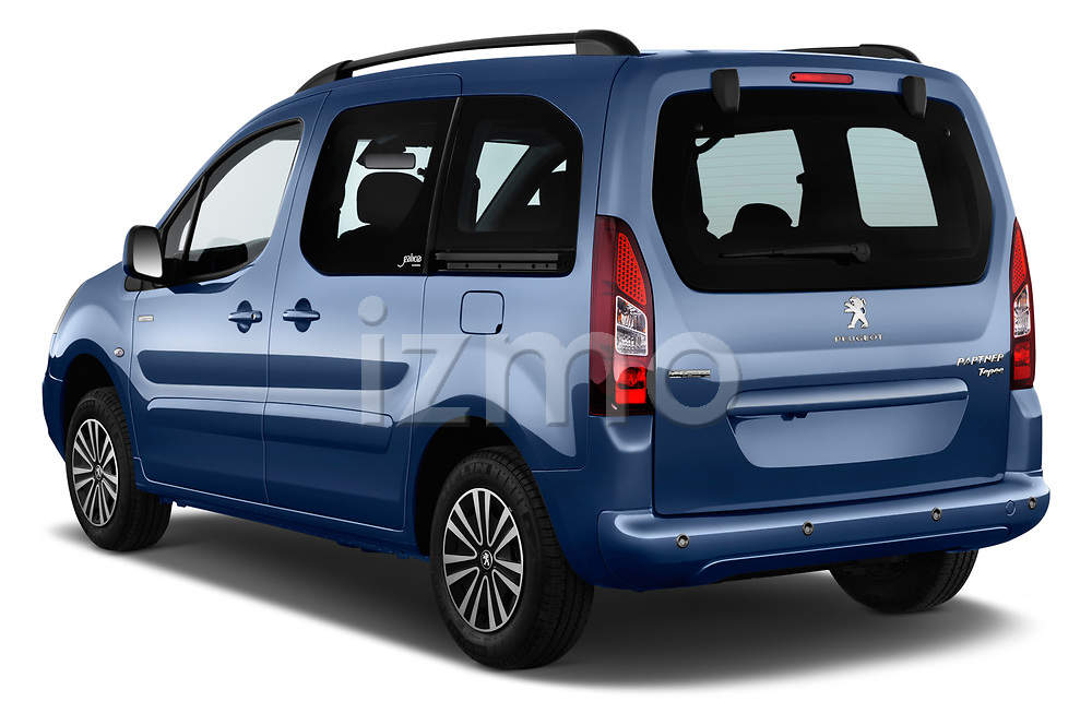 Car pictures of rear three quarter view of a 2018 Peugeot Partner Tepee Electric Allure 5 Door Mini Van angular rear