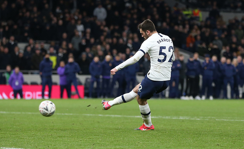 Tottenham Hotspur's Troy Parrott misses hs penalty during the shoot-out<br /> <br /> Photographer Rob Newell/CameraSport<br /> <br /> The Emirates FA Cup Fifth Round - Tottenham Hotspur v Norwich City - Wednesday 4th March 2020 - Tottenham Hotspur Stadium - London<br />  <br /> World Copyright © 2020 CameraSport. All rights reserved. 43 Linden Ave. Countesthorpe. Leicester. England. LE8 5PG - Tel: +44 (0) 116 277 4147 - admin@camerasport.com - www.camerasport.com