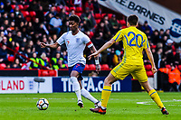 ?Leicester City's forward Demarai Gray (7) for England U21's  runs by ?FC Shakhtar Donetsk's midfielder Oleksandr Pikhalyonok (20) for Ukraine U21's during the International Euro U21 Qualification match between England U21 and Ukraine U21 at Bramall Lane, Sheffield, England on 27 March 2018. Photo by Stephen Buckley / PRiME Media Images.
