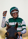 ARCADIA, CA - FEBRUARY 03: Victor Espinoza smiles after winning the San Pasqual Stakes at Santa Anita Park on February 3, 2018 in Arcadia, California. (Photo by Alex Evers/Eclipse Sportswire/Getty Images)