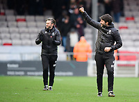 Lincoln City's assistant manager Nicky Cowley, left, and Lincoln City manager Danny Cowley celebrate at the end of the game<br /> <br /> Photographer Chris Vaughan/CameraSport<br /> <br /> The EFL Sky Bet League Two - Lincoln City v Grimsby Town - Saturday 19 January 2019 - Sincil Bank - Lincoln<br /> <br /> World Copyright © 2019 CameraSport. All rights reserved. 43 Linden Ave. Countesthorpe. Leicester. England. LE8 5PG - Tel: +44 (0) 116 277 4147 - admin@camerasport.com - www.camerasport.com