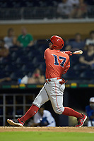 Brian O'Grady (17) of the Louisville Bats follows through on his swing against the Durham Bulls at Durham Bulls Athletic Park on May 28, 2019 in Durham, North Carolina. The Bulls defeated the Bats 18-3. (Brian Westerholt/Four Seam Images)