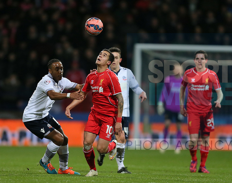 Philippe Coutinho of Liverpool goes past Neil Danns of Bolton - FA Cup Fourth Round replay - Bolton Wanderers vs Liverpool - Macron Stadium  - Bolton - England - 4th February 2015 - Picture Simon Bellis/Sportimage