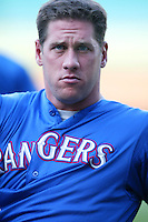 John Rocker of the Texas Rangers before a 2002 MLB season game against the Los Angeles Angels at Angel Stadium, in Los Angeles, California. (Larry Goren/Four Seam Images)