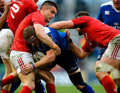 02.04.2016. Aviva Stadium, Dublin, Ireland. Guinness Pro12.  Leinster versus Munster. Sean Cronin (Leinster) attempts to force his way through the defence.