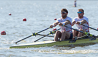 Brandenburg. GERMANY.<br /> GBR M2X. Bow John COLLINS and Jonny WALTON, at the start of the heat. 2016 European Rowing Championships at the Regattastrecke Beetzsee<br /> <br /> Friday  06/05/2016<br /> <br /> [Mandatory Credit; Peter SPURRIER/Intersport-images]