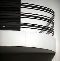 The balcony of a Bauhaus style building. Tel Aviv is known as the White City in reference to its collection of 4,000 Bauhaus style buildings, the largest number in any city in the world. In 2003 the Bauhaus neighbourhoods of Tel Aviv were placed on the UNESCO World Heritage List. ..