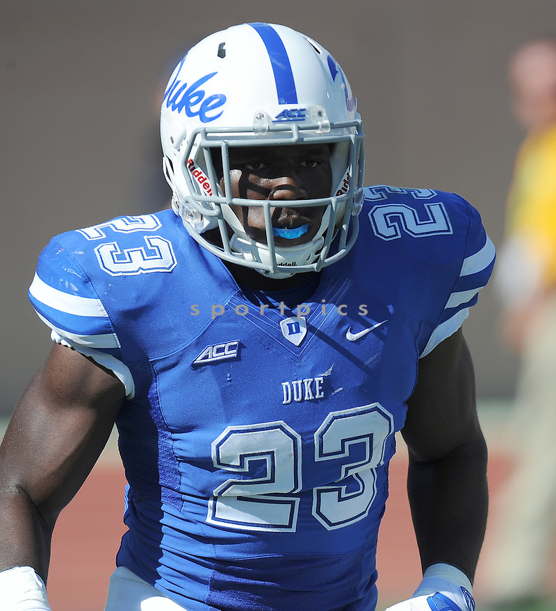 Duke Blue Devils Joseph Ajeigbe (23) during a game against the Tulane Green Wave on September 20, 2014 at Wallace Wade Stadium in Durham, NC. Duke beat Tulane 47-13.