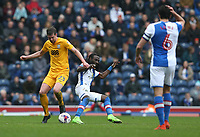 Preston North End's Paul Huntington and Blackburn Rovers' Marvin Emnes<br /> <br /> Photographer Stephen White/CameraSport<br /> <br /> The EFL Sky Bet Championship - Blackburn Rovers v Preston North End - Saturday 18th March 2017 - Ewood Park - Blackburn<br /> <br /> World Copyright &copy; 2017 CameraSport. All rights reserved. 43 Linden Ave. Countesthorpe. Leicester. England. LE8 5PG - Tel: +44 (0) 116 277 4147 - admin@camerasport.com - www.camerasport.com