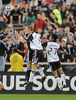 Colorado Rapids midfielder Jeff Larentowicz (4) head the ball.    DC United tied The Colorado Rapids 1-1, at RFK Stadium, Saturday  May 14, 2011.