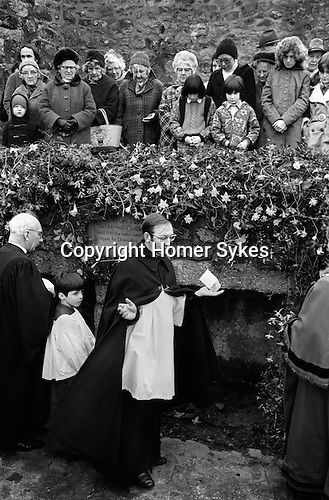 Blessing at St La Well near Porthmeor Beach St Ives Cornwall, at the start of the Hurling day 1975. <br />