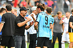11.08.2019, Carl-Benz-Stadion, Mannheim, GER, DFB Pokal, 1. Runde, SV Waldhof Mannheim vs. Eintracht Frankfurt, <br /> <br /> DFL REGULATIONS PROHIBIT ANY USE OF PHOTOGRAPHS AS IMAGE SEQUENCES AND/OR QUASI-VIDEO.<br /> <br /> im Bild: Bernhard Trares (Trainer SV Waldhof Mannheim) mit Valmir Sulejmani (SV Waldhof Mannheim #9)<br /> <br /> Foto © nordphoto / Fabisch
