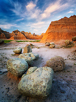 Large boulders and rock formations at sunrise.  Badlands National Park, South Dakota.