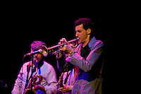Jordan McLean takes a solo during the Antibalas performance at Union Transfer in Philadelphia on December 13, 2012.