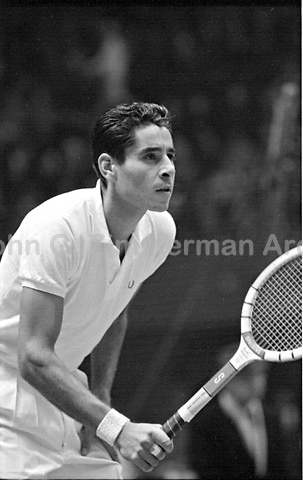 American tennis player Pancho Gonzales vs Australian Ken Rosewall, Madison Square Garden, 1957. Photograph by John G. Zimmerman.