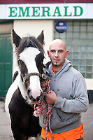 3/10/2010.  Horse trader Thomas Foley from Ballinasloe is pictured with Patch at the Ballinasloe Horse Fair, Ballinasloe, County Galway, Ireland. Picture James Horan