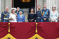 Prince Charles, Prince Andrew, Camilla Duchess of Cornwall, HM The Queen Elizabeth II, Meghan Duchess of Sussex, Prince William, Prince Harry, Catherine Duchess of Cambridge<br /> The Royal Family watch RAF centenary fly-past at Buckingham Palace, The Mall, London, England on July 10, 2018.<br /> CAP/GOL<br /> &copy;GOL/Capital Pictures