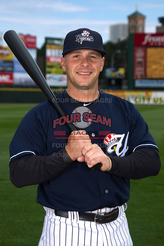 Scranton Wilkes-Barre Yankees infielder Ryan Baker #18 poses for a photo during media day at Frontier Field on April 3, 2012 in Rochester, New York.  (Mike Janes/Four Seam Images)
