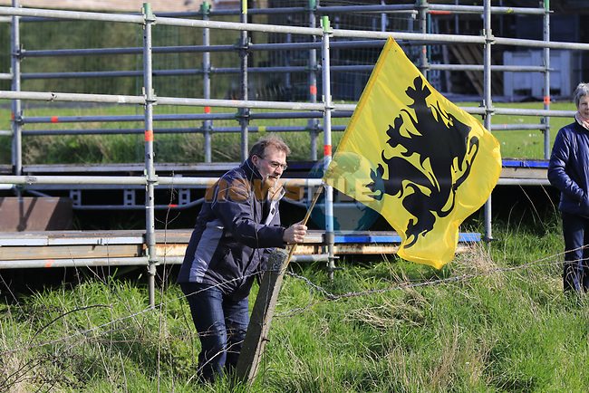 Flying the Lion of Flanders at Oude Kwaremont during the 60th edition of the Record Bank E3 Harelbeke 2017, Flanders, Belgium. 24th March 2017.<br /> Picture: Eoin Clarke | Cyclefile<br /> <br /> <br /> All photos usage must carry mandatory copyright credit (&copy; Cyclefile | Eoin Clarke)
