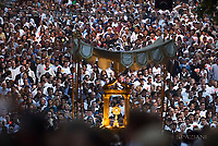Corpus Domini procession;Pope Francis during a Corpus Domini procession between the basilicas San Giovanni in Laterano and Santa Maria Maggiore on in Rome.18 June 2017