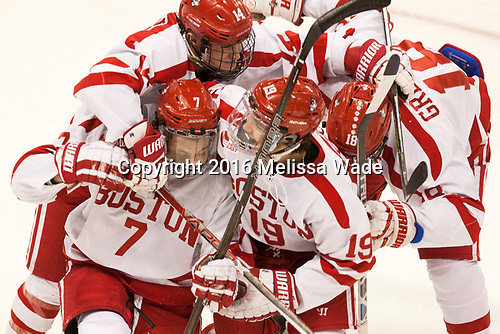 Bobo Carpenter (BU - 14), Charlie McAvoy (BU - 7), Clayton Keller (BU - 19), Jordan Greenway (BU - 18) The Boston University Terriers defeated the visiting Yale University Bulldogs 5-2 on Tuesday, December 13, 2016, at the Agganis Arena in Boston, Massachusetts.