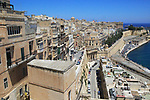 Historic buildings on the Grand Harbour waterfront in Valletta, Malta